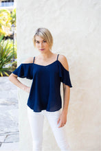 Load image into Gallery viewer, Tegan Cold Shoulder Navy Top