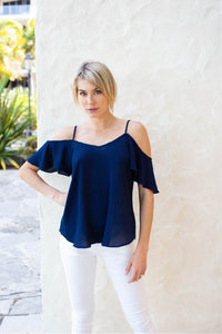 Tegan Cold Shoulder Navy Top