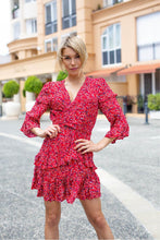 Load image into Gallery viewer, Aurora L/Sleeve Frill Dress Red