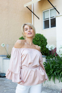 Bijou off shoulder tie top Champagne