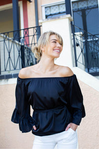 Bijou off shoulder tie top Black
