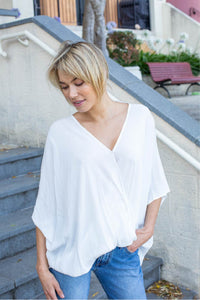 Clara Batwing Crossover Top White