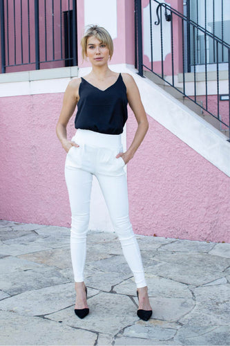 Amara High waist zip back white pant