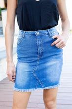 Load image into Gallery viewer, X Stitch Blue Denim Skirt