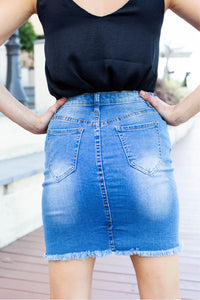 X Stitch Blue Denim Skirt