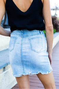 X Stitch Light Faded Denim Skirt
