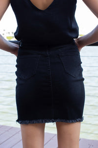 X Stitch Black Denim Skirt