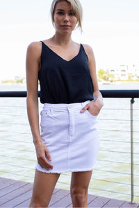 Freyed Denim White Skirt