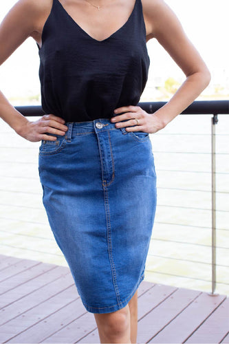Middi Blue denim skirt