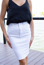 Load image into Gallery viewer, Middi Denim Skirt White