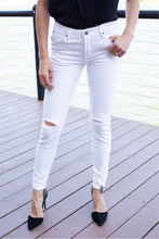 Load image into Gallery viewer, Rip Knee White Denim