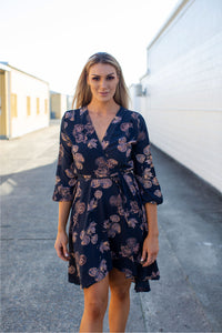 Hailey Cross over Long sleeve Print Dress