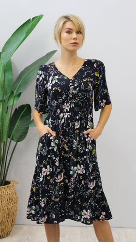 August Floral Print Maxi Dress Navy