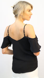 Tegan Cold Shoulder Black Top