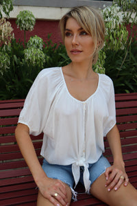 Charlize Button Up Tie Front Top
