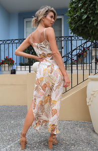 Shayla Leaf Print Maxi dress