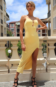 Florentine High Split Yellow Evening Dress