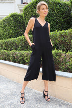 Load image into Gallery viewer, Harlyn Shoulder Tie Black Linen Jumpsuit