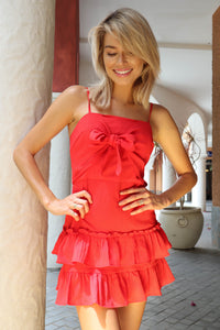 Mariana Tie front Frill dress Red
