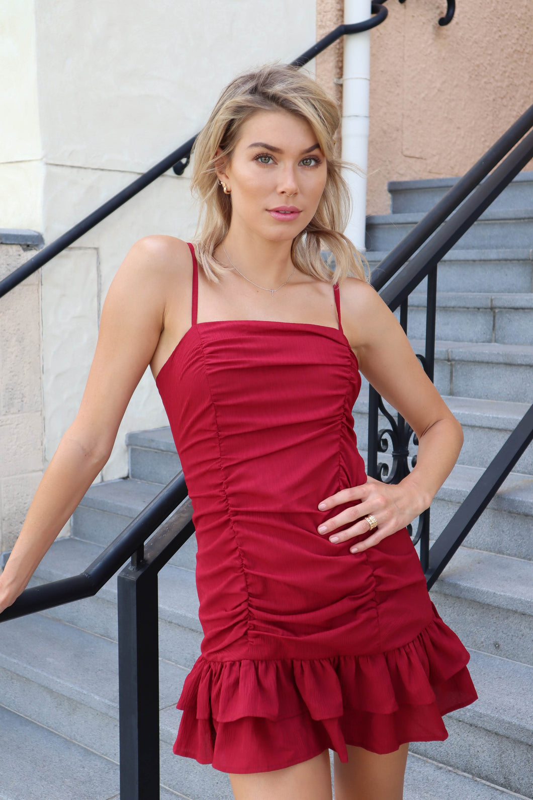Jimena Rouged Dress Maroon