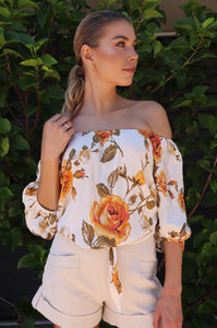 Bailey Peach Off Shoulder Floral Top