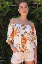 Load image into Gallery viewer, Bailey Peach Off Shoulder Floral Top