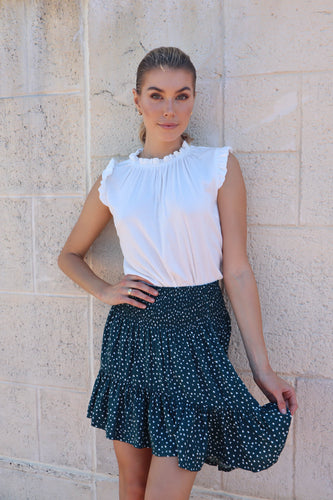Ashley Shirred Waist Frill Skirt