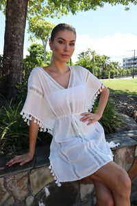 Malibu Tassle Beach Dress White