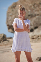 Load image into Gallery viewer, Alejandra White Bamboo Cotton Frill Hem Tunic