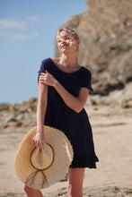 Load image into Gallery viewer, Alejandra Navy Bamboo Cotton Frill Hem Tunic