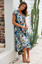 Load image into Gallery viewer, Adriana Deep Blue Maxi Wrap Dress