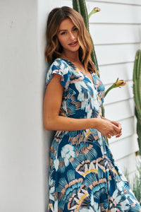 Adriana Deep Blue Maxi Wrap Dress