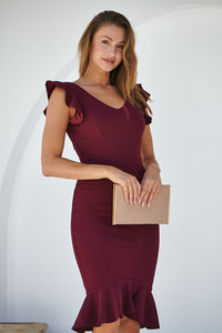 Alessi Burgundy Frill Evening Dress