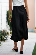 Load image into Gallery viewer, Adelaide Pleated Black Satin Aline Skirt