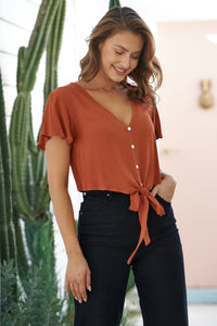 Beverley Rust Button Front Crop