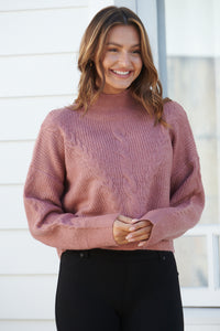 Jennifer Pink Cable Knit Jumper