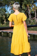 Load image into Gallery viewer, Luca Tierred Yellow Middi dress