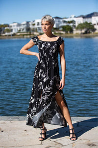 Fioralla Black printed Maxi dress