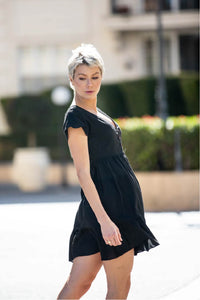 Violetta Button Front Black Linen Dress