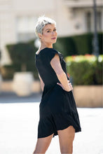 Load image into Gallery viewer, Violetta Button Front Black Linen Dress