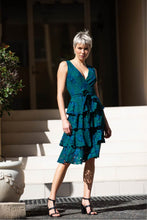 Load image into Gallery viewer, Danna Emerald Lace Evening Dress