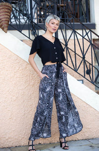 Alyssa Wide leg Animal Brush Print Pants