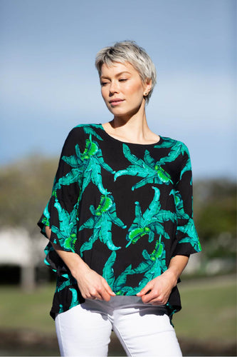 Valeria Black Tropical Print Top