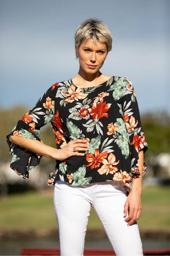 Valeria Black Floral Print Top