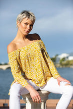 Load image into Gallery viewer, Nisha yellow Floral off shoulder top