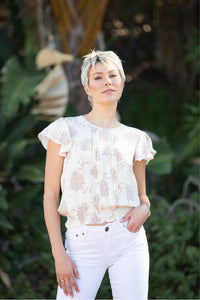 Gemma Cream Shirred Top