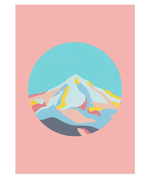 Mountainscape Print in Dusty Pink