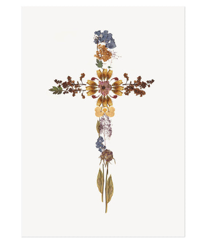 Pressed Flower Cross Print