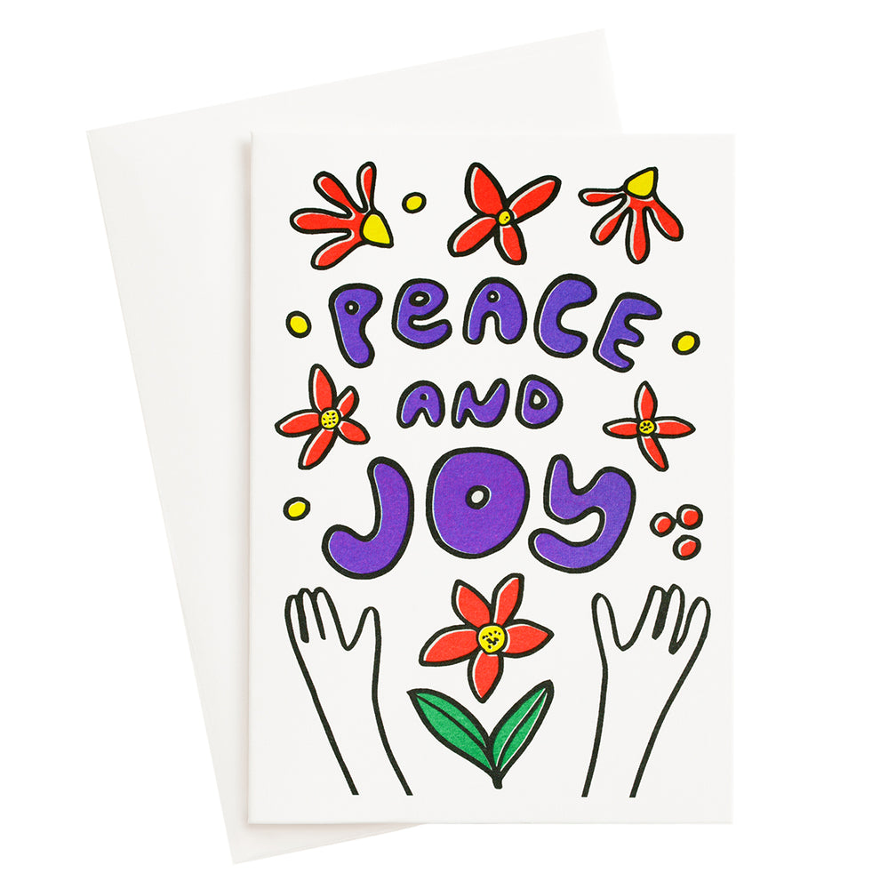 Peace and Joy Bouquet Risograph Card