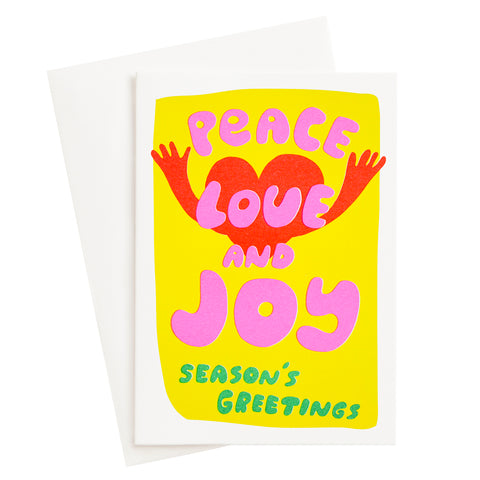 Peace Love and Joy Risograph Card